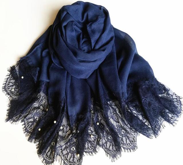 Viskose party hijab spitze schal mit perlen 180*90 cm stilvolle ...
