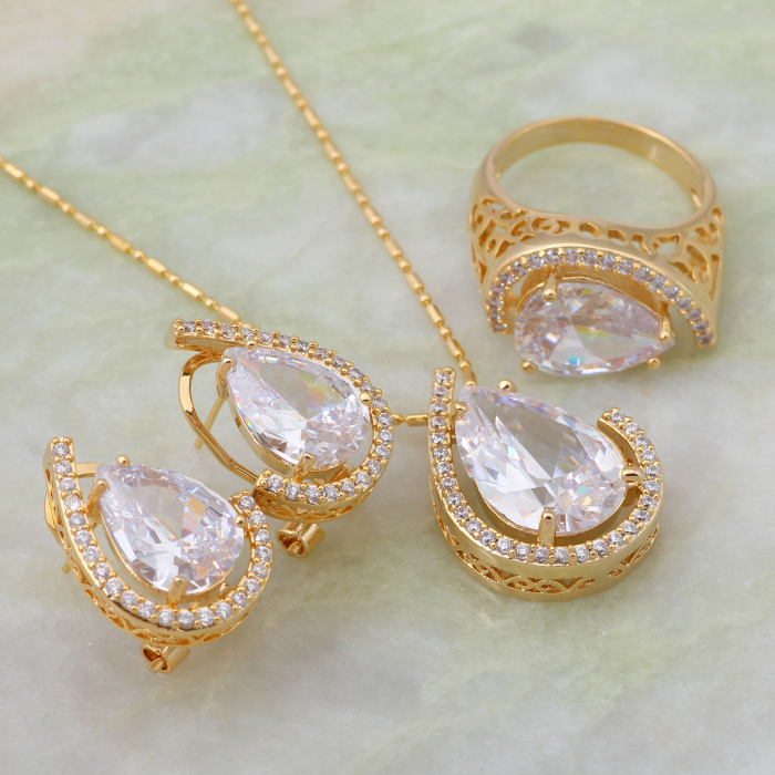 Unique design fashion jewelry sets white cubic zirconia stone unique design fashion jewelry sets white cubic zirconia stone pendantsringearring yellow gold size 5 6 7 8 9 s110 in jewelry sets from jewelry mozeypictures Choice Image