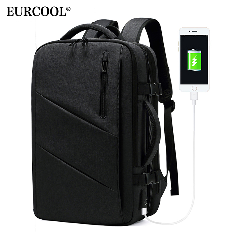EURCOOL Multifunction Travel Backpack 15 6 Laptop Male Mochila USB Charging Large Capacity Business Expansion Backpack