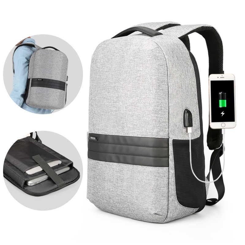Kingsons 15 inç Laptop sırt çantaları USB şarj Anti hırsızlık sırt çantası erkekler seyahat sırt çantası su geçirmez okul çantası erkek Mochila