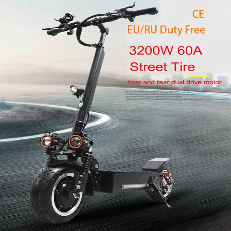 JueShuai 80 KM/H Scooter électrique 60 V 3200 W pneu de rue Scooter 11 pouces deux roues étanche moteur adulte planche à roulettes électrique