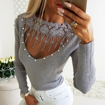 Embroidery lace hollow out women blouse shirt Beading long sleeve pleated blouse Elegant womens tops and blouses Рубашка