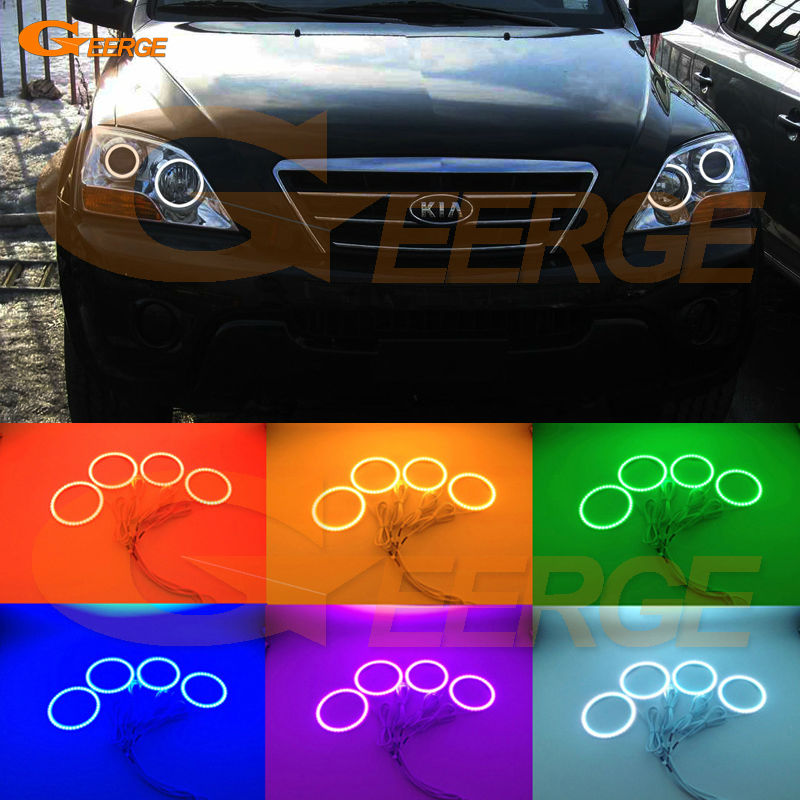 For Kia Sorento 2007 2008 2009 Excellent Angel Eyes Multi-Color Ultra bright RGB LED Angel Eyes kit Halo Rings for toyota camry xv40 2006 2007 2008 2009 altise excellent angel eyes multi color ultra bright rgb led angel eyes kit halo rings