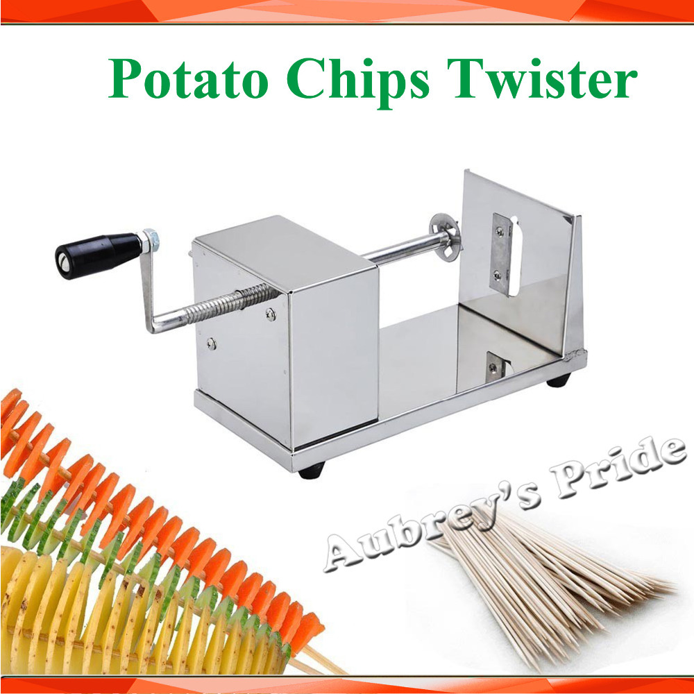 Manual Spiral Twister Vegetable Cutter French Stainless Steel Twisted Tornado Potato Chips Slicer