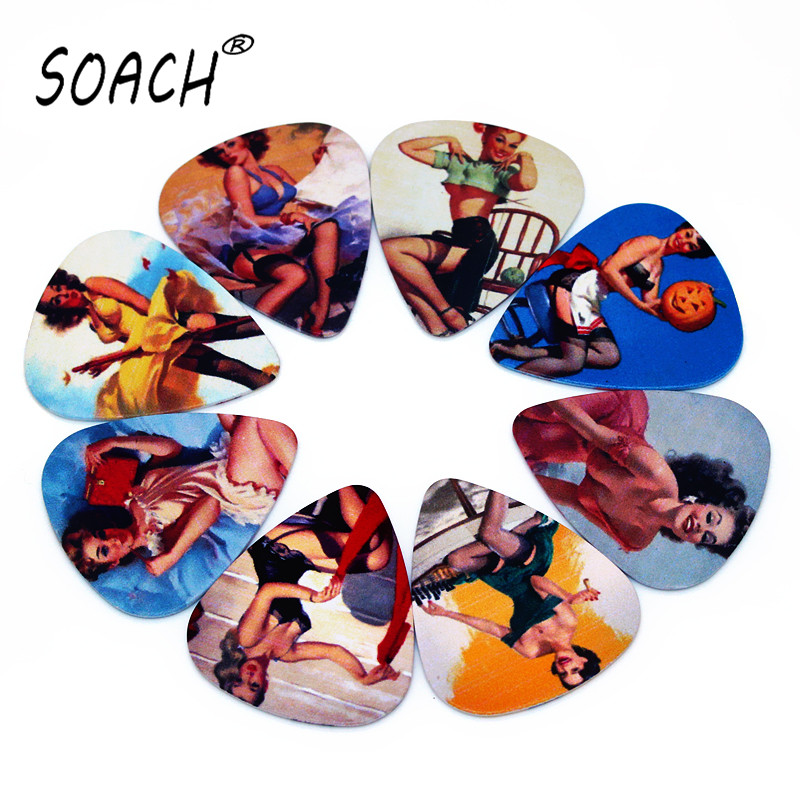 SOACH 10pcs 0.71mm Guitar Picks High Quality Two Side Earrings Pick Design Guitar Accessories Pick For Ukulele Bass