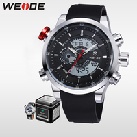 WEIDE Quartz Sports Wrist Watch Casual Genuine Mens LCD Analog Digital Dual Time Watch Black Waterproof Watches Original Gifts