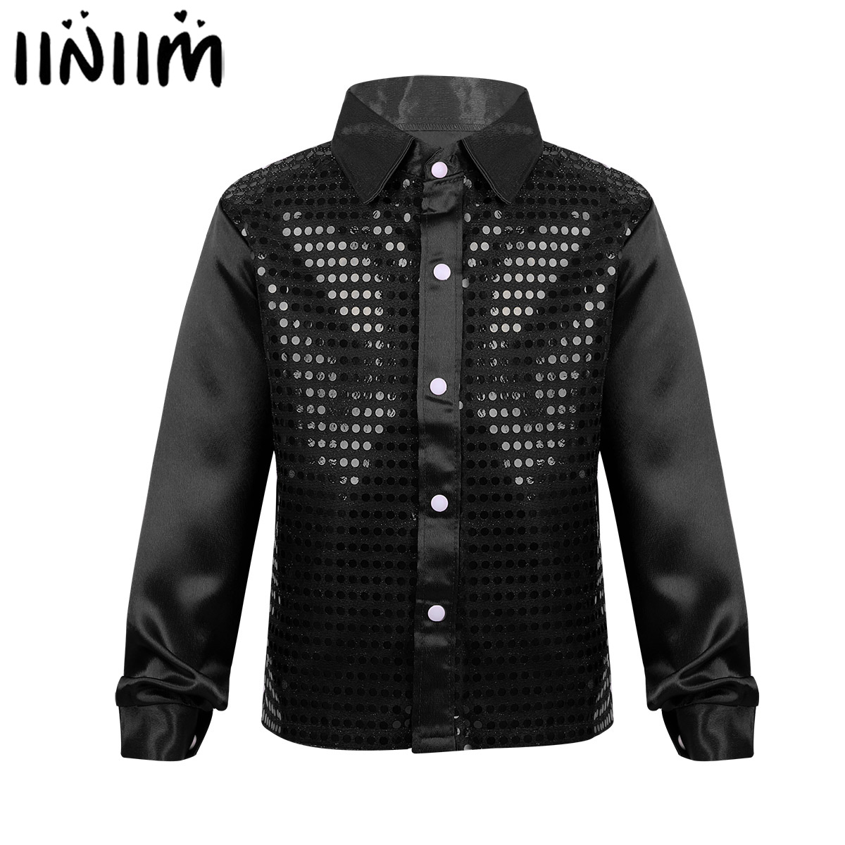 iiniim Kids Boys Jazz Glittery Sequined Dancewear Spread Collar Shirt for Choir Jazz Lyrical Dance Costumes for Weeding
