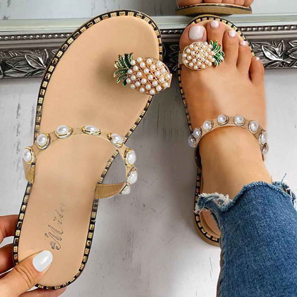 Casual Sandals Slippers Pineapple-Pearl Flat-Toe Bohemian Summer Women's with Ju10