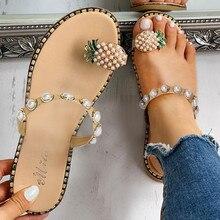 Женские сандалии; Летние повседневные сандалии; женская повседневная обувь в богемном стиле на плоской подошве с жемчужинами и ананасом; пляжные сандалии на плоской подошве; шлепанцы; Ju10