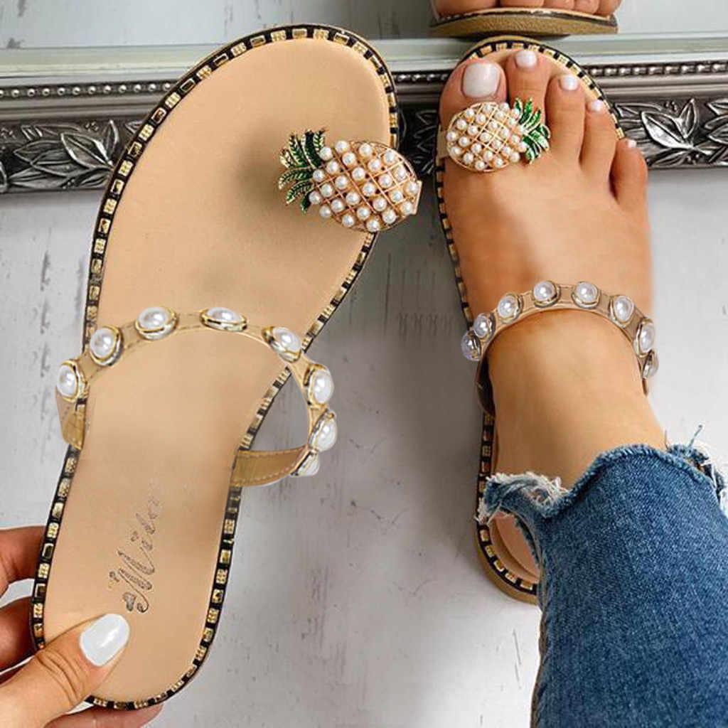 Sandały damskie letnie sandały na co dzień damskie płaskie Toe ananasowe perłowe czeskie obuwie płaskie z plażowymi sandały Ju10