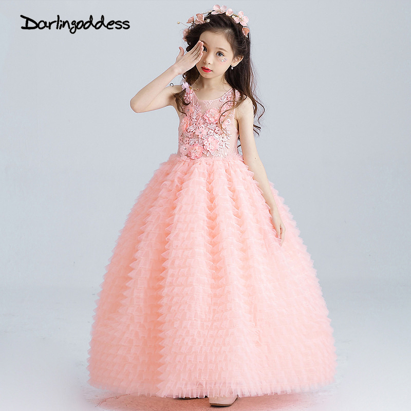 Peach Pageant Dresses for Girls Glitz Puffy Flower Girl Dresses ...