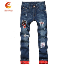 2017 Scratched Robin Jeans Mens Ripped Biker Jeans 100% Cotton Distressed Hole Denim Hip Hop Jeans Straight Slim Denim Trousers