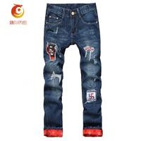 2017 Scratched Robin Jeans Mens Ripped Biker Jeans 100% Cotton Distressed Hole Denim Hip Hop Jeans Straight Slim Denim Trousers