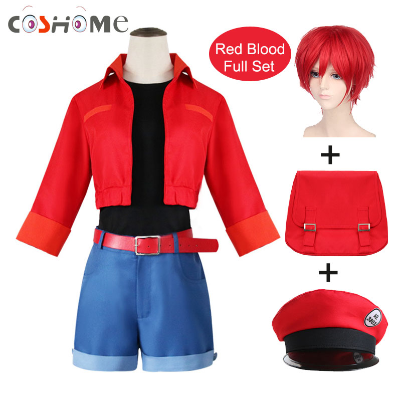 Coshome Anime Cells At Work Erythrocytes Cosplay Costume Red Blood AE3803 Cosplay Hataraku Saibou 6pcs Full Set For Halloween