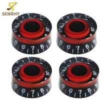 4pcs Lots Speed Control Guitar Knobs Black Red For LP Electric Guitar Bass Replacement Useful Guitarra Accessories