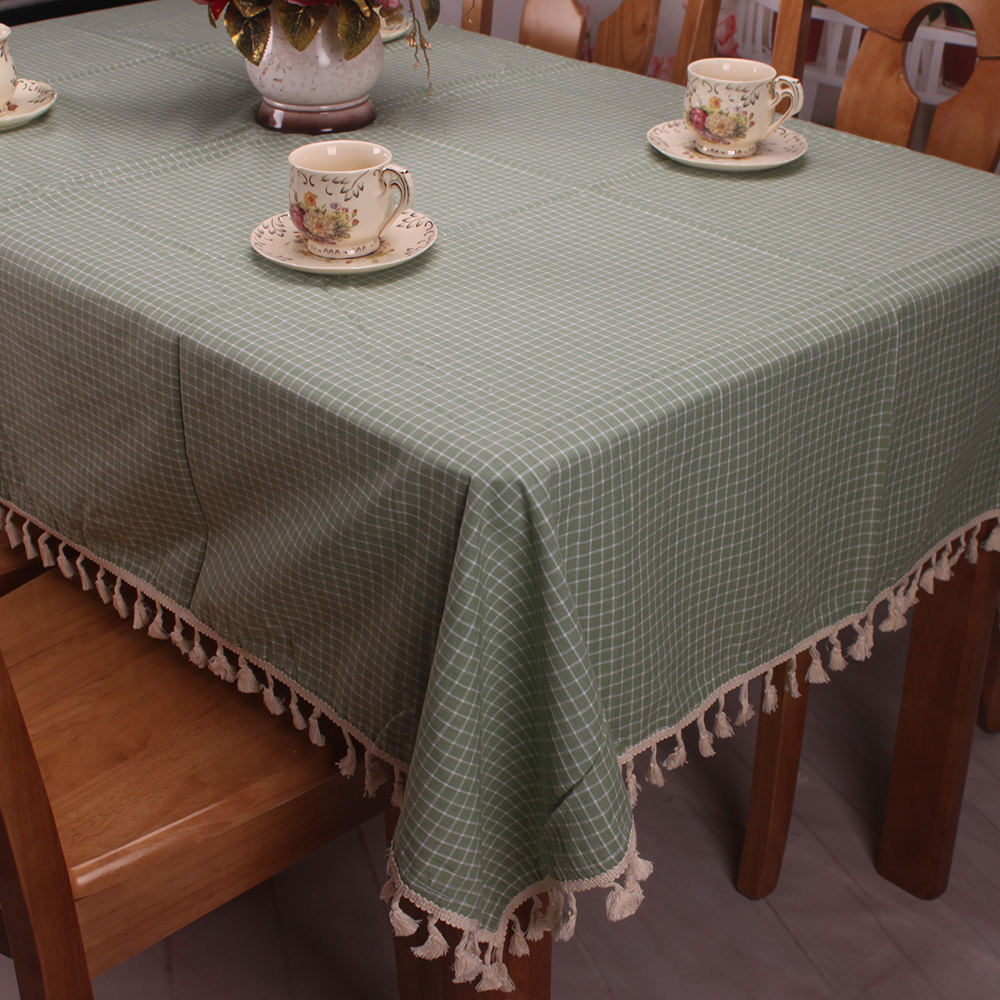 Japanese korean style cotton linen ice green plaid tablecloth for tea coffee tables Coffee table tablecloth