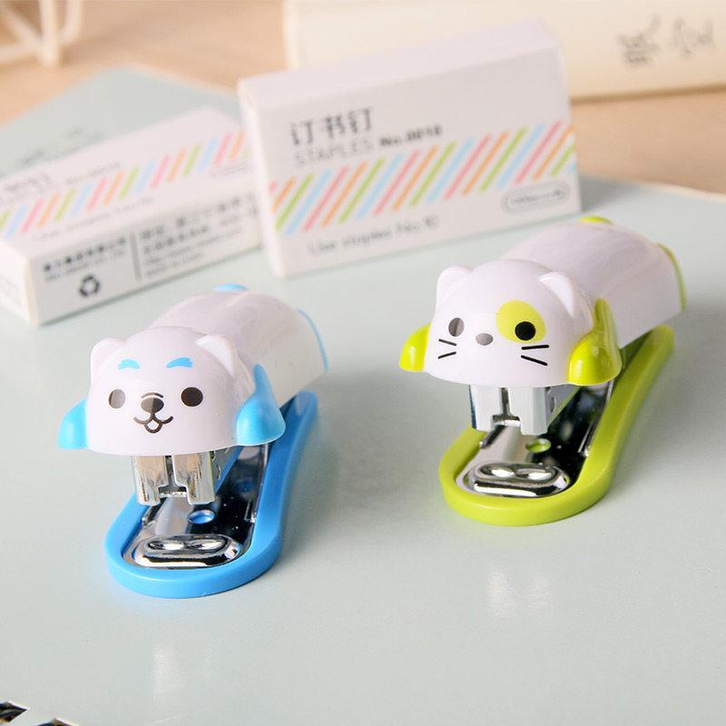 Cute Little Animals Stapler Set Mini Cartoon School Office Supply Student Prize Birthday Gift Use For 10# Staple