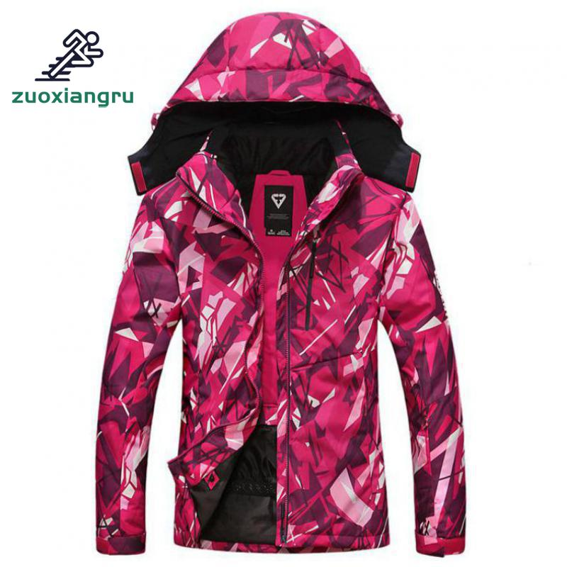 купить Women Winter Waterproof Windproof Hooded Camo Hiking Jacket Outdoor Sport Warm Hiking Cycling Mountain Climbing Jacket онлайн