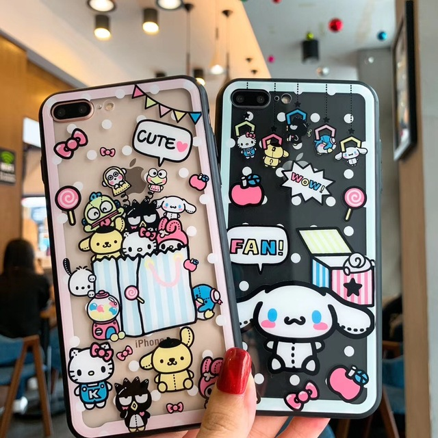 uk availability 92f5a 3a202 US $3.95 29% OFF|One Piece My Melody Sanrio Cartoon Case For iPhone 6 6S 7  8 Plus X XR XS Max Transparent Glass Phone Cover Hard Back Funda Capa-in ...