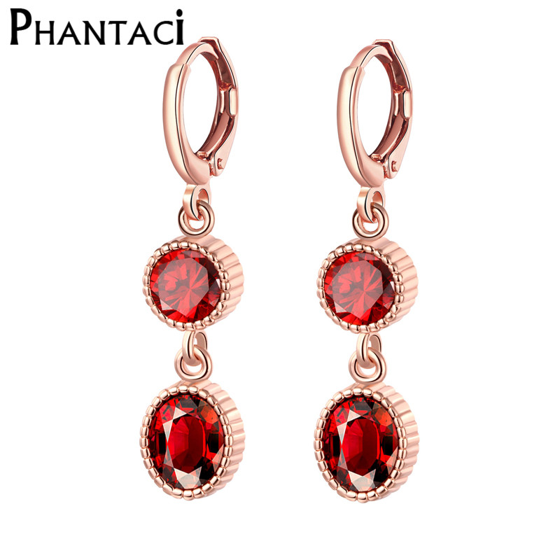 2018 Female Geometric Red Crystal Drop Earrings Rose Gold Round Long Hanging Pendant Dangle For Women Fashion Jewelry In From