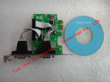 10pcs/lot Wholesale PCI Express to 2 Ports COM 9 Pin Serial RS232 Card Adapter for Win7 Vista XP
