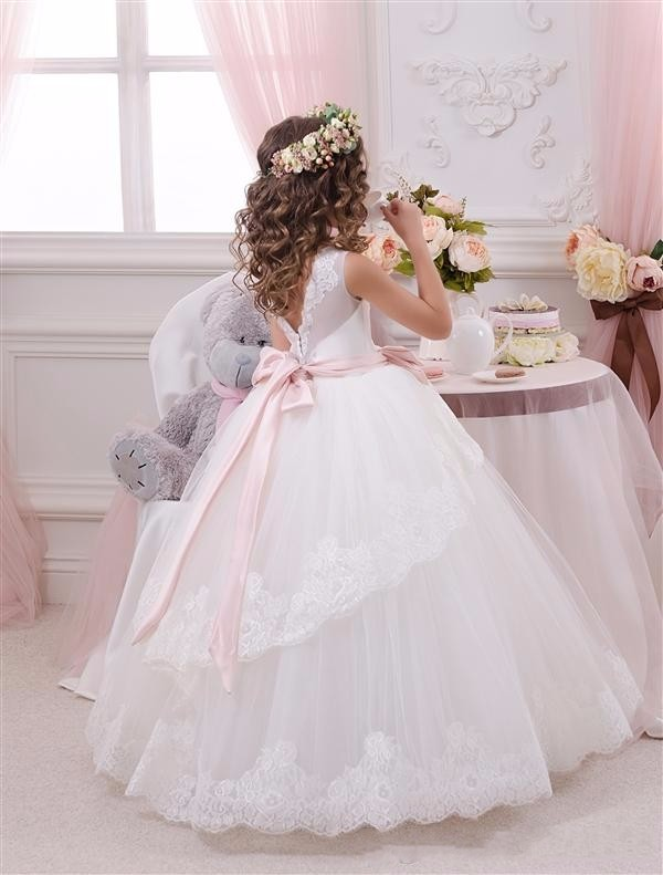 Elegant Lace Ball Gown Little Bridal Flower Girl\'s Dresses For Wedding Party Princess Ruffle Bow Floor Length Tulle Pageant Dresses (2)_conew1