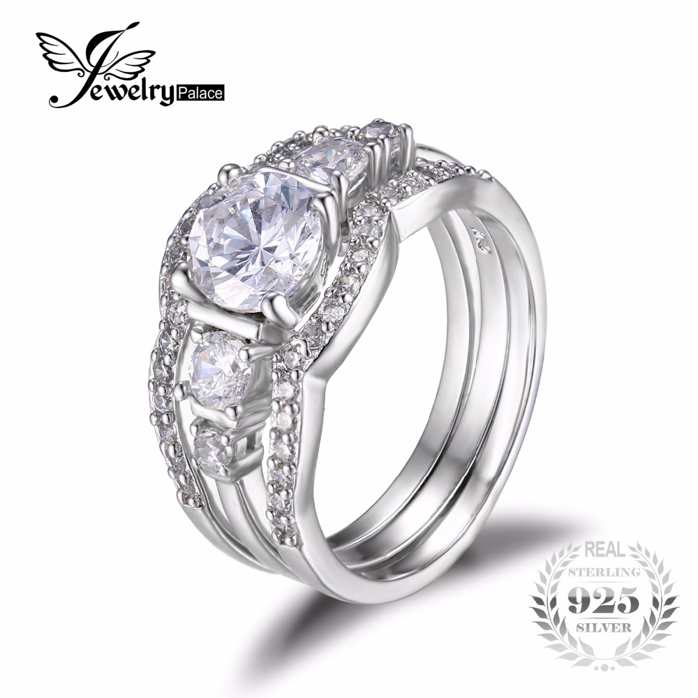 Jewelrypalace 15ct Cubic Zirconia 3 Pcs Anniversary Wedding Band Solitaire Engagement  Ring Bridal Sets Pure