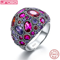 Jrose Vintage Jewelry Wedding Classical Red Purple Solid Real Pure 100 925 Sterling Silver Ring For