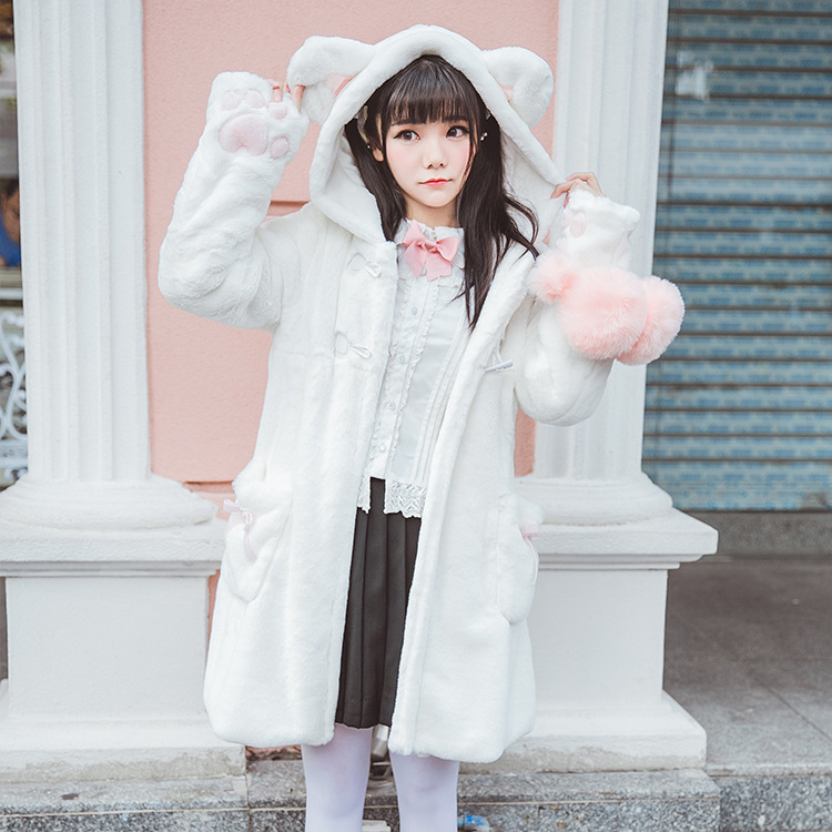 2017 autumn and winter new soft sister Japanese Meng cute cat autumn and winter thicker plus velvet imitation fur coat