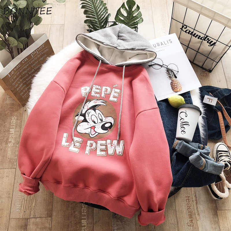 Hoodies Women Hooded Solid Cartoon Letter Printed Loose Full Sleeves Womens Hoodie All-match Leisure Korean Style Simple Student