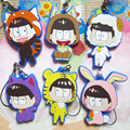 [PCMOS] 2017 New Six Same Face Mr.Osomatsu-san Animal Characters 6pcs Phone Strap Charm Keychain Dust Plug Gift Craft 16061407