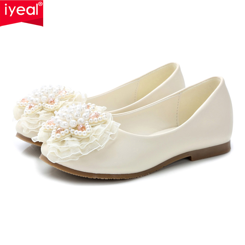 IYEAL New 2018 Children Princess Shoes Beaded Girls Wedding Party Kids Dress Shoes for Girls Pink / Ivory School Shoes new children princess pearl beading sandals kids flower wedding shoes high heels dress shoes party shoes for girls pink guinea p