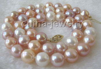 """AAA 17"""" 9mm natural multicolor round freshwater pearl necklace"""