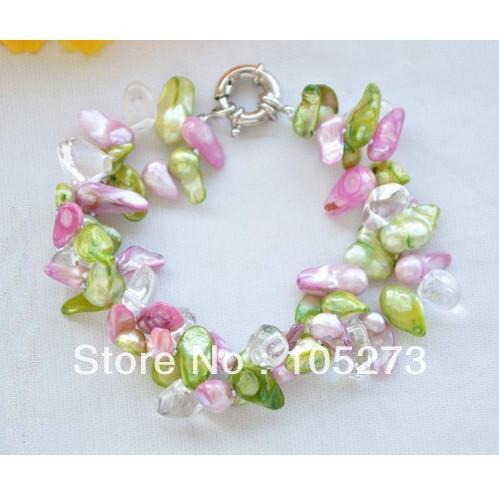 Gros bijoux de perles 8 ''10-16mm queue Baroque vert rose perle d'eau douce cristal perles Bracelet de haute qualité livraison gratuite