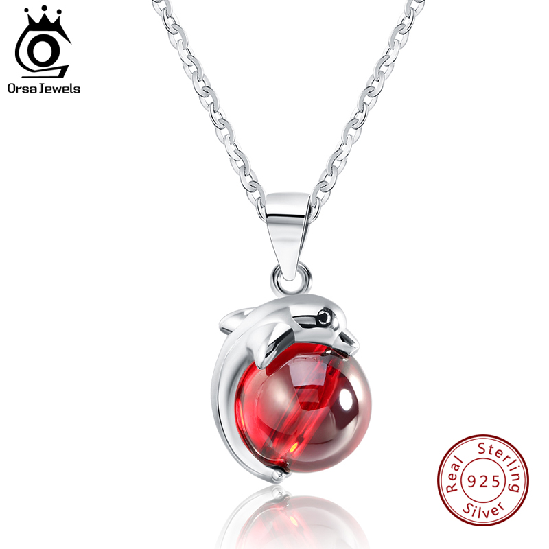 ORSA JEWELS Fashion 925 Sterling Silver Red Natural Stone Dolphin Pendant Necklaces for Women Genuine Silver Jewelry Gift SN02