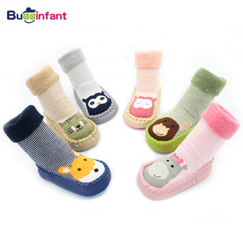 Warm Winter Boy Baby Sock Shoes Soft Autumn Newborn Baby Girls Socks with Rubber Soles Animals Infant Shoe Sock Terry PU Leather