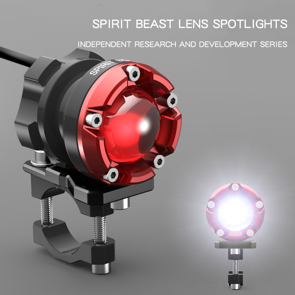 SPIRIT BEAST Led Spotlight Motorcycle Decorative Lighting Headlight 48V Headlamps Fog Super Bright Auxiliary Lights Lamp Flasher