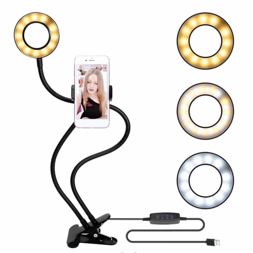 LED Selfie Ring Filling Light USB Charging Power With Mobile Phone Clip Holder Lazy Bracket Desktop Clamp Eye Care Lamp