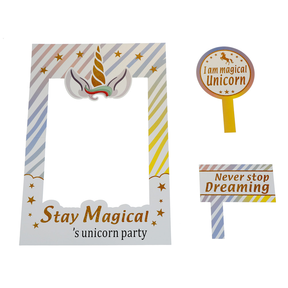 61ad359aa0c2 1set Funny Unicorn Party Photo Booth Props Frame Happy Birthday Party  Decorations Kids Photobooth Props Party Favors Supplies