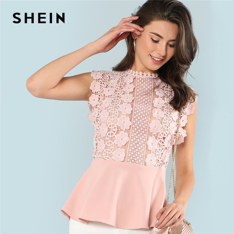 4c1c2b6475 SHEIN Pink Solid Ruffle Elegant Office Workwear Casual Sleeveless Contrast Lace  Womens Tops and Blouses Hem Shell Summer Top
