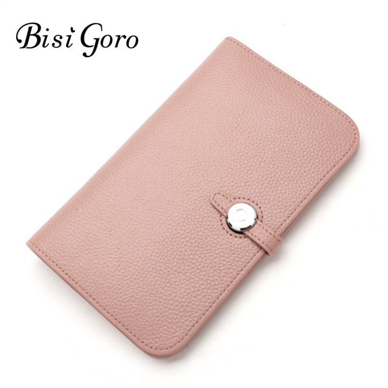 Bisi Goro Wallet 2018 Fashion Wallet Women Cowhide Leather Wallet Money Bag For Phone Brand Women Purse Long Purse Coin Purse