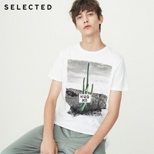 SELECTED summer new men's cotton printed trend casual short-sleeved T-shirt S 4182T4576