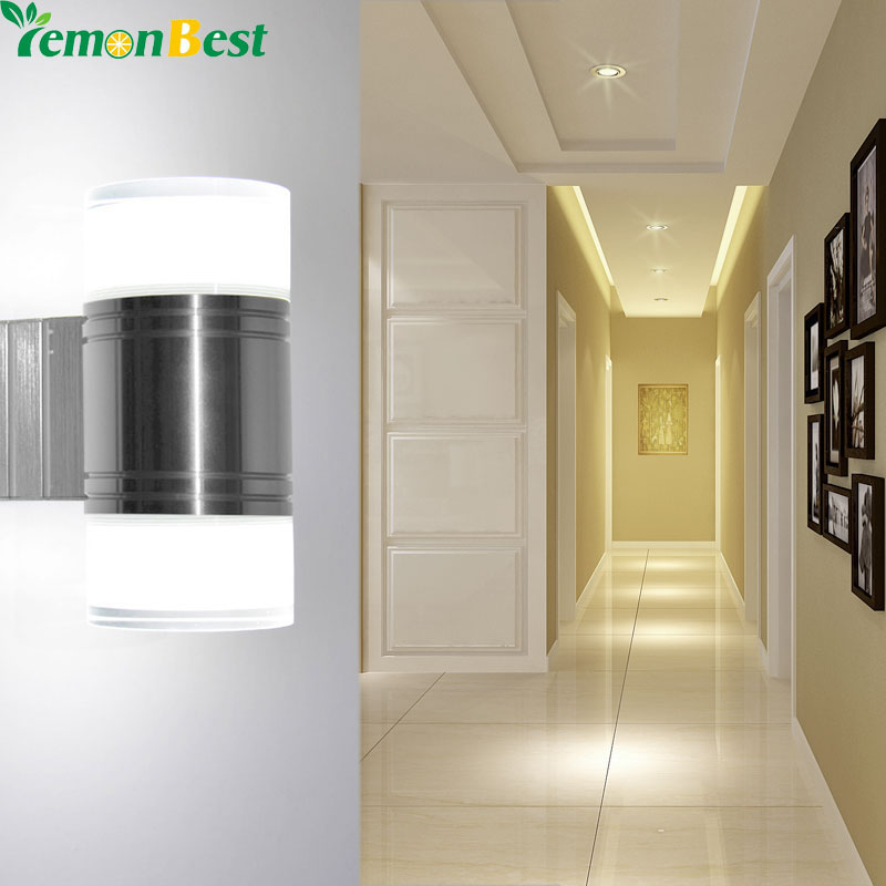 Up Down 10W LED Wall Light Bedroom Cylinder Acrylic Dual Head Wall Lamp  SMD5730 Indoor Outdoor