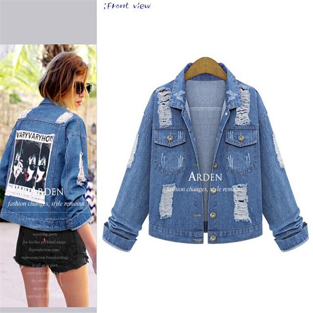 5xl plus size denim jeans casacos mulheres estilo verão 2016 bermuda feminina A0720 jean jaqueta de impressão fino casaco feminino