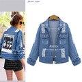 5xl plus size denim jeans coats women summer style 2016 bermuda feminina jean jacket print thin coat female A0720