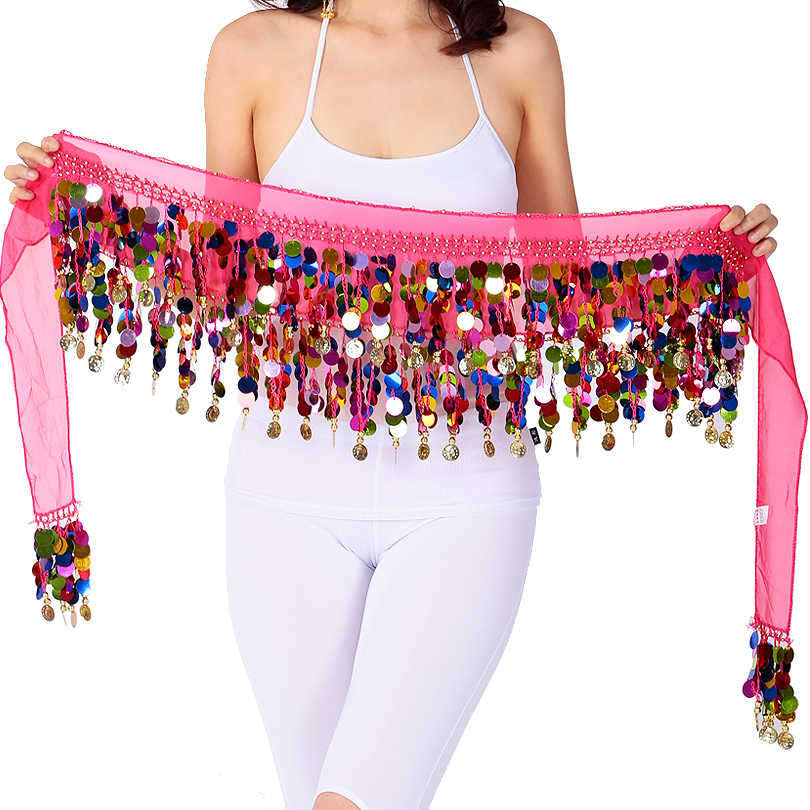 550694816 2 Layers Sequins Fringe Belly Dance Costume Hip Scarf Indian Dancer Belt  Waist Chain for Dance