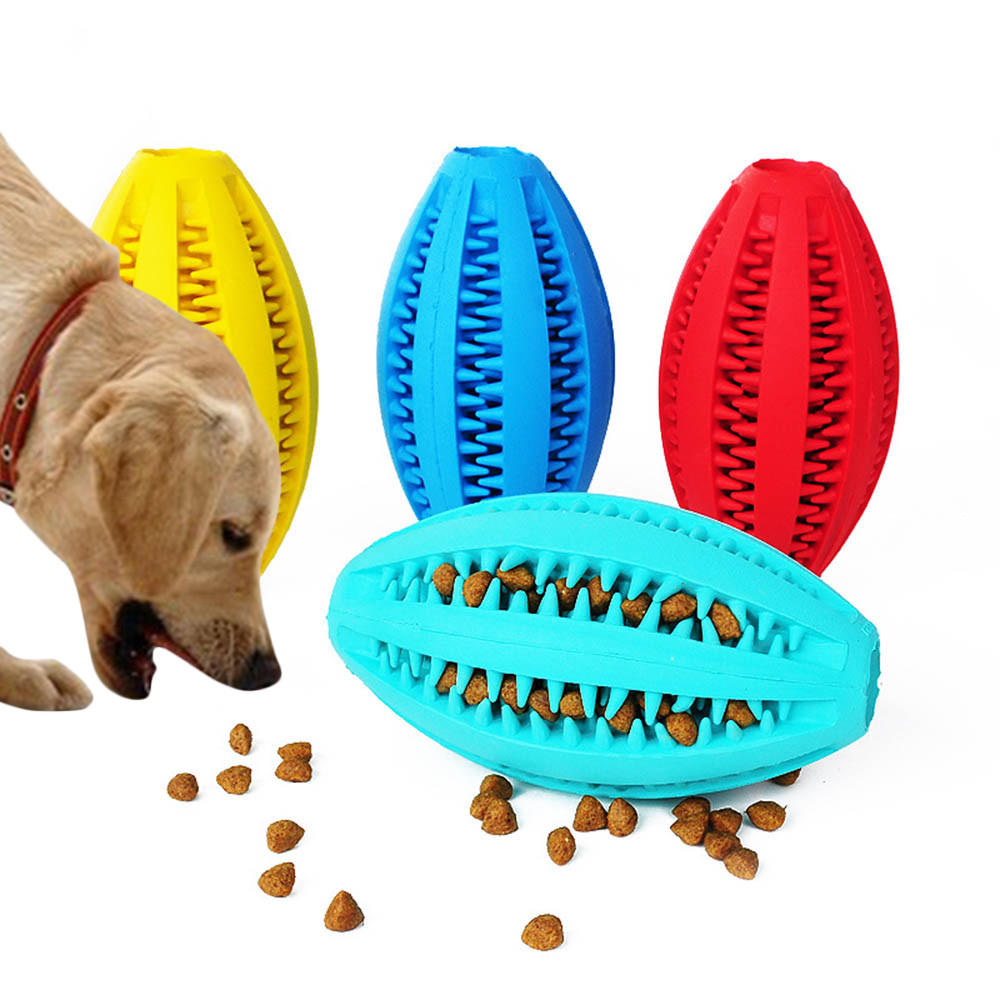 Pet Dog Food Feeder Pets Supplies Chew Toy Food Dispenser Ball Bite-Resistant Natural Rubber Clean Teeth Dog Toys Dogs Bowls image
