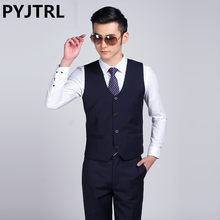 PYJTRL 2017 New Mens Fashion Suit Vest Male Korean Casual Business Shiny Black White Silver Red Navy Blue Gray Purple Waistcoat(China)