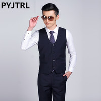 PYJTRL 2017 New Mens Fashion Suit Vest Male Korean Casual Business Shiny Black White Silver Red