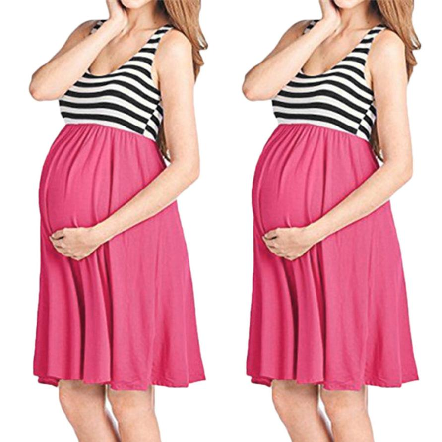 Pregnant Dress Womens O-Neck Pregnant Sleeveless Nursing Stripe Maternity Vest Tank DressPregnant Women 18Jun28